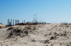 Sand Dunes. Cape May New Jersey, Ferry Beach along the Bay. Sand dunes to protect the neighboring streets from flooding Stock Photo