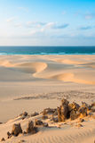 Sand dunes  in Chaves beach Praia de Chaves in Boavista Cape Ve Royalty Free Stock Images