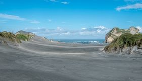 Sand dunes covered by green grass and ocean, Nelson Area, New Zealand royalty free stock images