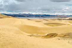 Sand dunes in a desert area of the Tibetan Plateau Royalty Free Stock Images