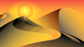 Sand dunes in desert - eps. Orange sand dunes in desert - vector Stock Photos