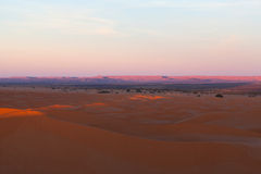 Sand dunes in Erg Chebbi, Western Sahara, Morocco. Sand dunes at sunrise in Erg Chebbi, Western Sahara, Morocco Royalty Free Stock Photography