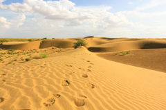 Sand dunes. Footsteps on dunes in Rajasthan desert, India Stock Photo
