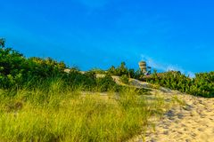 Sand Dunes, giant armchair on the roof of the house and Grass of the Provincelands Cape Cod MA US. Royalty Free Stock Photos