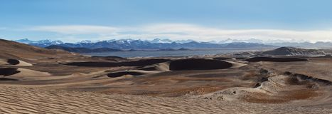 Sand dunes and Himalayas along China-Nepal Border, Tibet Stock Photos