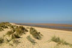Sand dunes on Holkham Beach in Norfolk. Path through sand dunes on Holkham Beach in Norfolk stock image