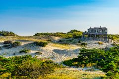 Sand Dunes, house and Grass of the Provincelands Cape Cod MA US. Royalty Free Stock Image