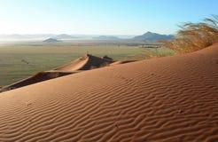 Sand dunes in the Kalahari desert. Lunar panoramic landscape with red sand dunes in the Kalahari Desert, Namibia, Africa Stock Photography
