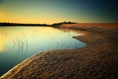 Sand dunes. And lake ,Sampanbok Grandcanyon of Thailand Royalty Free Stock Images