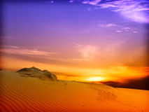 Sand Dunes Landscape. In sunset Royalty Free Stock Photos