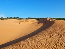 Sand dunes. Located in Muine, the red sand dunes. Sand dunes and beaches are coexist in this holiday coastal city. Pure blue sky, green tropical plants, yellow stock photography