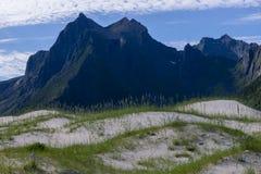 Sand dunes at Lofoten in Northern Norway stock photos