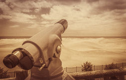 Sand dunes lookout in sepia Royalty Free Stock Image
