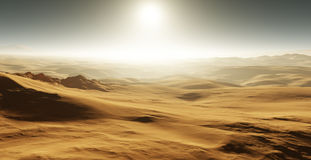 Sand dunes on Mars. Sunset on Mars. Martian landscape with sand dunes. 3D illustration Royalty Free Stock Photo