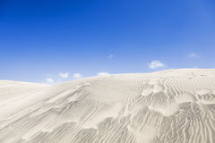 Sand dunes of Maspalomas. Blue sky and white clouds. Stock Image