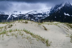 Sand dunes and mountains Royalty Free Stock Photography