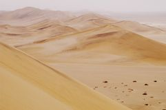 Sand dunes in Namibian desert Royalty Free Stock Images