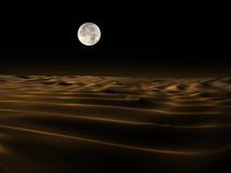 Sand Dunes at night. A digital image of sand dunes. Moon image courtesy of NASA Stock Photo
