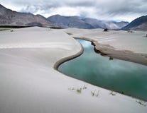 Sand dunes of Nubra Valley. Himalaya mountains landscape. Sand dunes of Nubra Valley with river and desert plant. Himalaya mountains landscape. India, Ladakh stock image