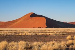 Sand dunes in the pan of Sossusvlei in Namibia. Africa stock image