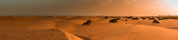Sand dunes panorama Royalty Free Stock Photos