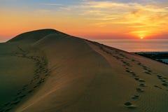 Sand dunes on Patara beach at sunset. Turkey Royalty Free Stock Images