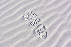 Sand Dunes, ripples boot print Stock Image