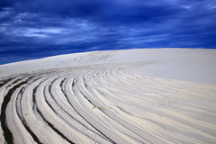 Sand dunes with road Royalty Free Stock Photography
