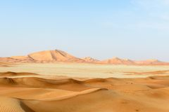 Sand dunes in Rub al-Khali desert (Oman) Royalty Free Stock Images