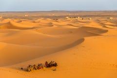 Sand dunes of Sahara desert in area Erg Chebbi Merzouga. ERG CHEBBI, MOROCCO - APRIL 4,2017 - Sand dunes of Sahara desert in area Erg Chebbi Merzouga.The dunes Stock Photography