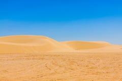 Sand dunes of Sahara desert near Ong Jemel in Tozeur,Tunisia. Royalty Free Stock Photos