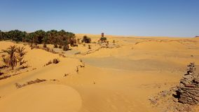 The sand dunes of the Sahara royalty free stock photography