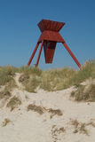 Sand dunes with seamark. Seamark in sand dunes in Blokhus Denmark Royalty Free Stock Image