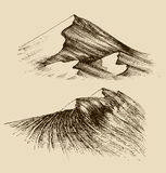 Sand dunes sketch. Sand dunes set, hand drawn graphic elements Royalty Free Stock Images