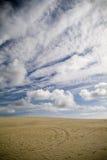 Sand Dunes and Sky. Large coastal sand dunes in Australia stock photo