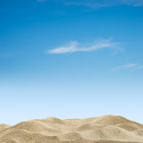 Sand dunes and sky. Sand dunes on blue sky background royalty free stock photos