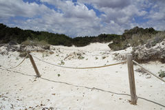 Sand dunes in spain. Sand dunes of es trenc on spanish island mallorca Royalty Free Stock Photography
