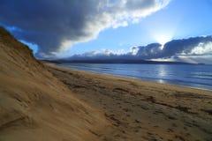 Sand Dunes at Sunset. Deserted, golden beach at sunset Stock Photo
