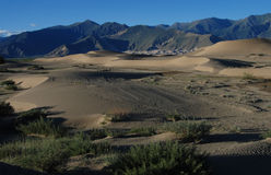 Sand  dunes in Tibet. Sand  dunes besides the Yarlung Zangbo River, in Lhoka,Tibet Royalty Free Stock Image