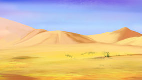 Sand Dunes under a Blue Sky. Digital Painting, Illustration of the Sand dunes under a blue sky in a desert.  Cartoon Style Character, Fairy Tale Story Background Royalty Free Stock Image