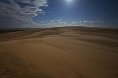 Sand dunes under full moon light Royalty Free Stock Photos