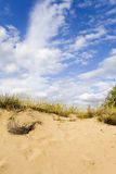 Sand dunes under a nice clouded sky. Location is near Semipalatinsk, Kazakchstan Royalty Free Stock Images