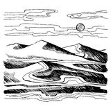Sand dunes vector sketch. Sahara desert against the sky. Stock Illustration Stock Photos