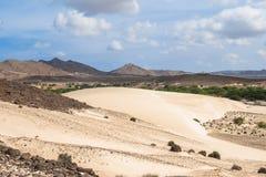 Sand dunes in Viana desert - Deserto de Viana in Boavista - Cape Royalty Free Stock Photos
