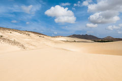 Sand dunes in Viana desert - Deserto de Viana in Boavista - Cape Stock Images