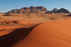Sand-dunes in Wadi-Rum desert. Scenic view over Wadi-Rum desert in Jordan Royalty Free Stock Image