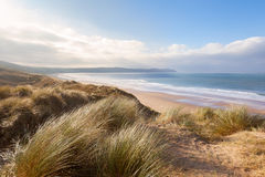 Sand Dunes and Woolacombe Beach Stock Photos