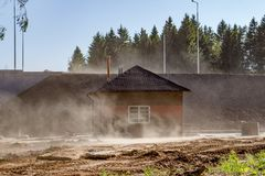 Sand dust raised by a strong wind stock photo
