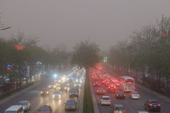 Sand dust storm in Beijing, 2015 Royalty Free Stock Images
