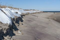 Sand erosion along beach on Massachusetts North Shore. Sand erosion along beach in Parker River National Wildlife Refuge Royalty Free Stock Images